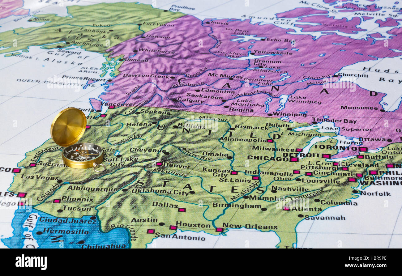 Picture of: Usa Map And Compass Stock Photo Alamy