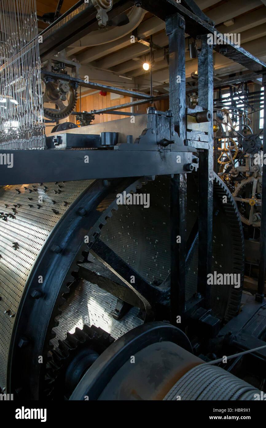 Clock mechanism and carillon, Belfort  Belfry, Bruges, West Flanders, Belgium, Europe - Stock Image