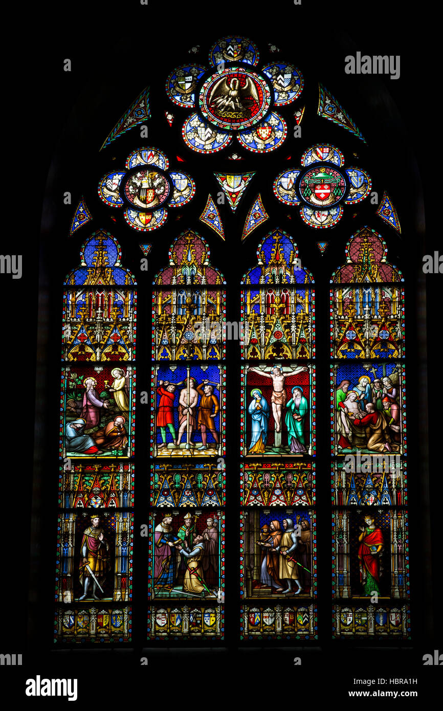 Stained glass window, Basilica of the Holy Blood, Bruges,  West Flanders, Belgium, Europe - Stock Image