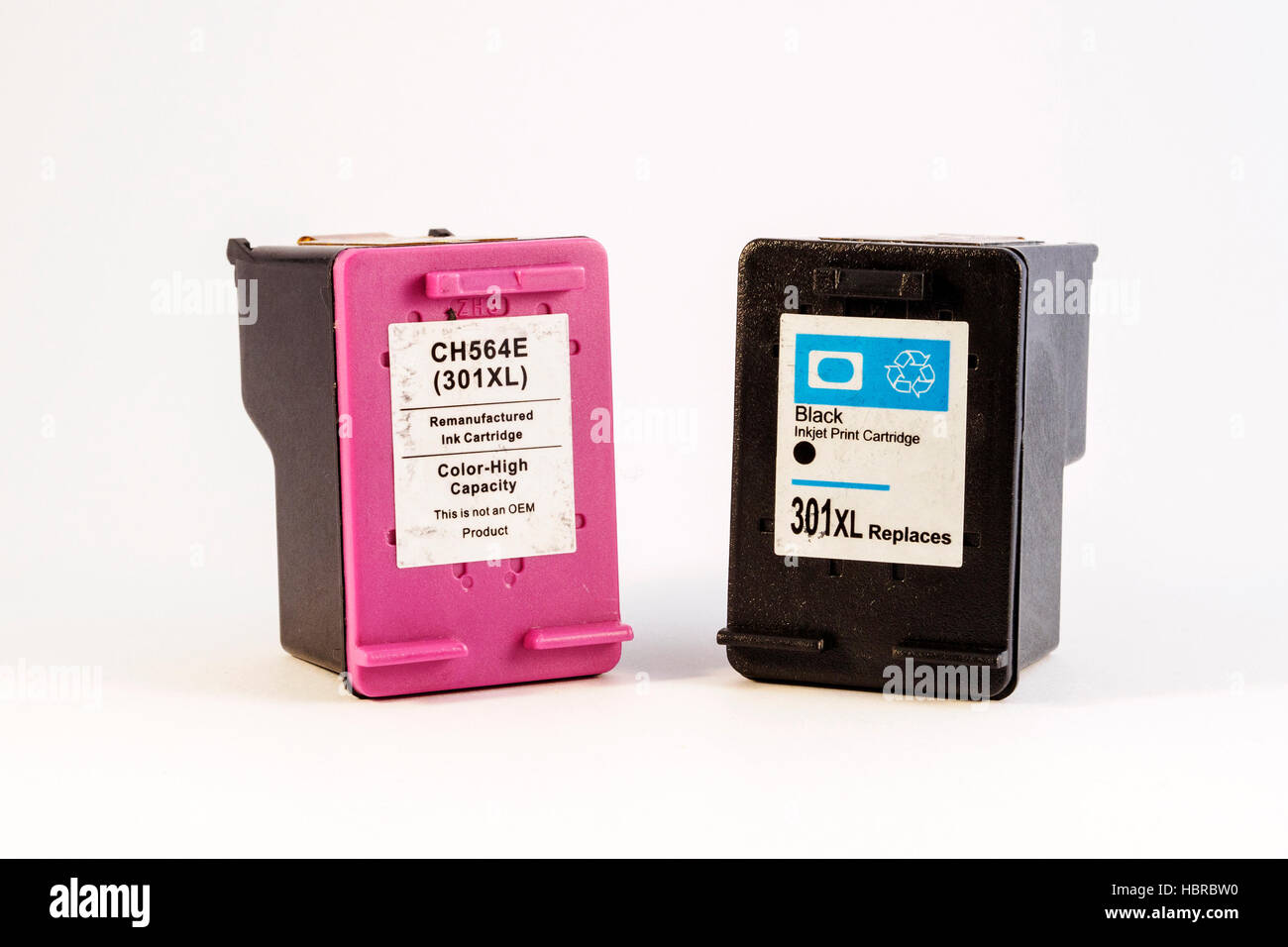 Re-manufactured and compatible ink cartridges can save the consumer money. - Stock Image