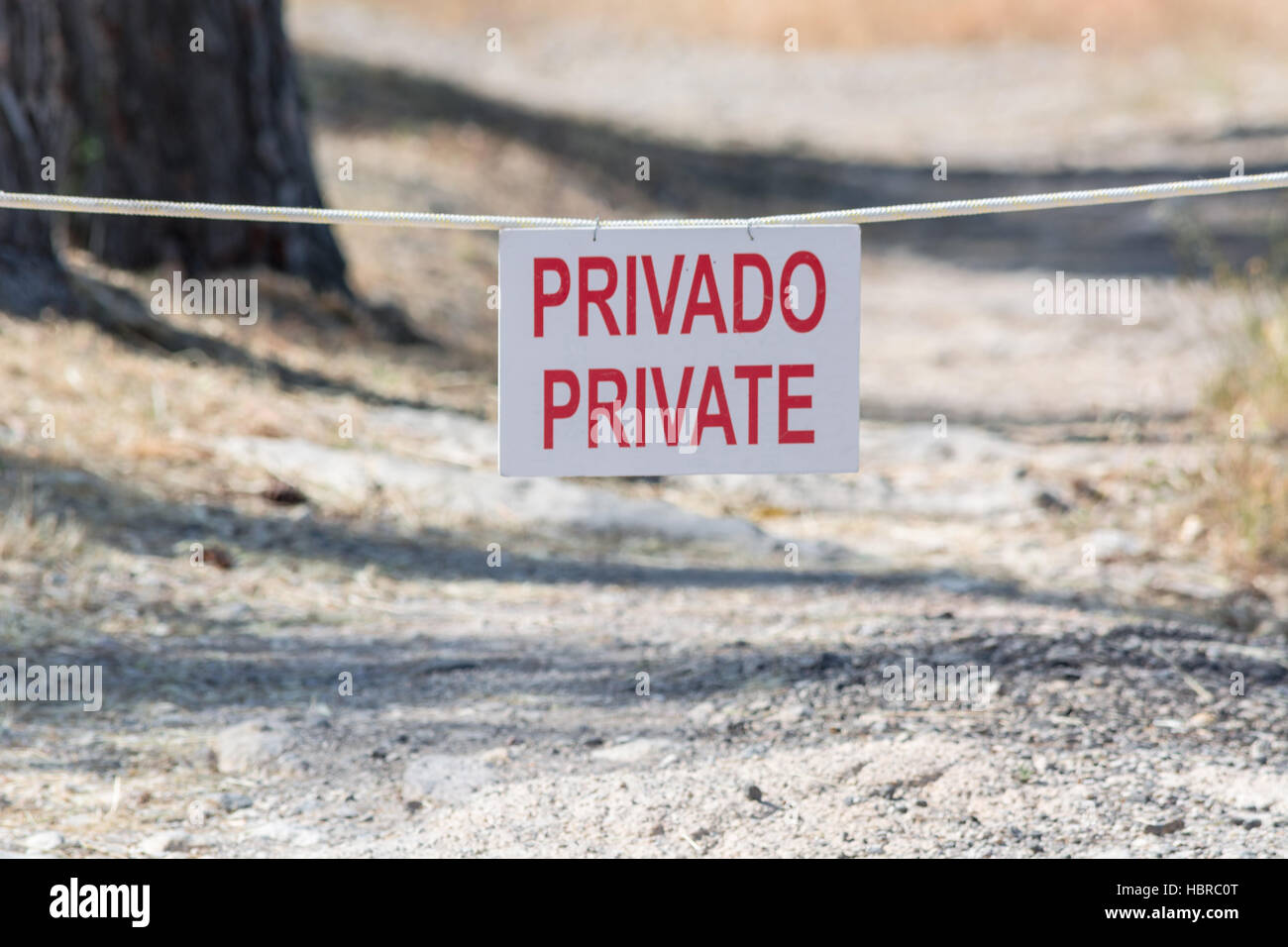Information plate with lettering private. Stock Photo