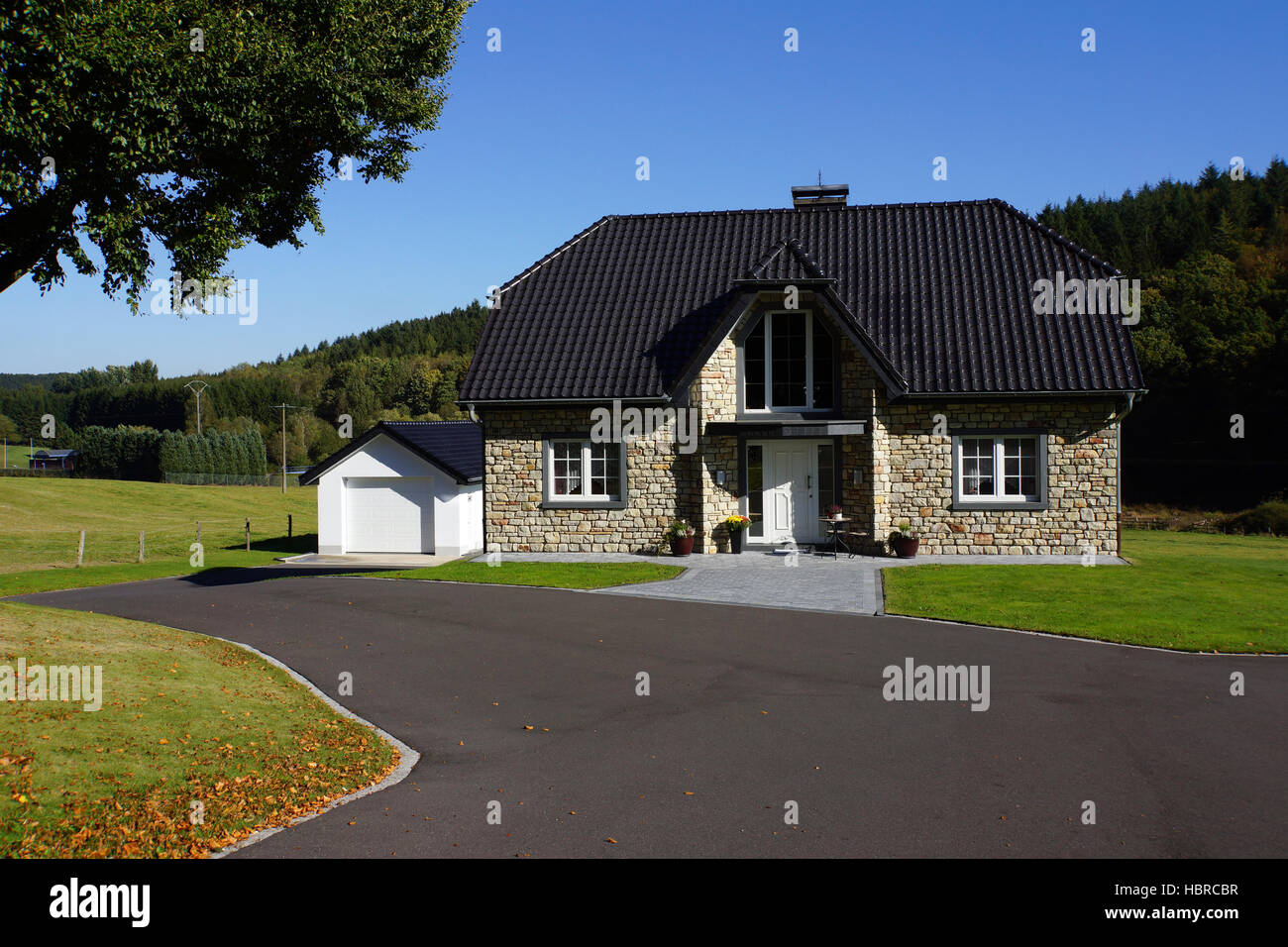 neat one family House - Stock Image