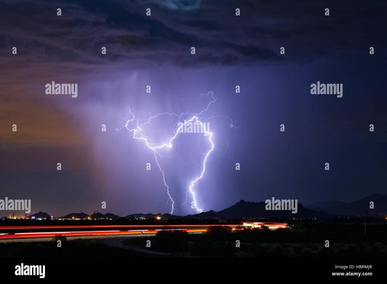 lightning during a monsoon thunderstorm in tucson arizona stock