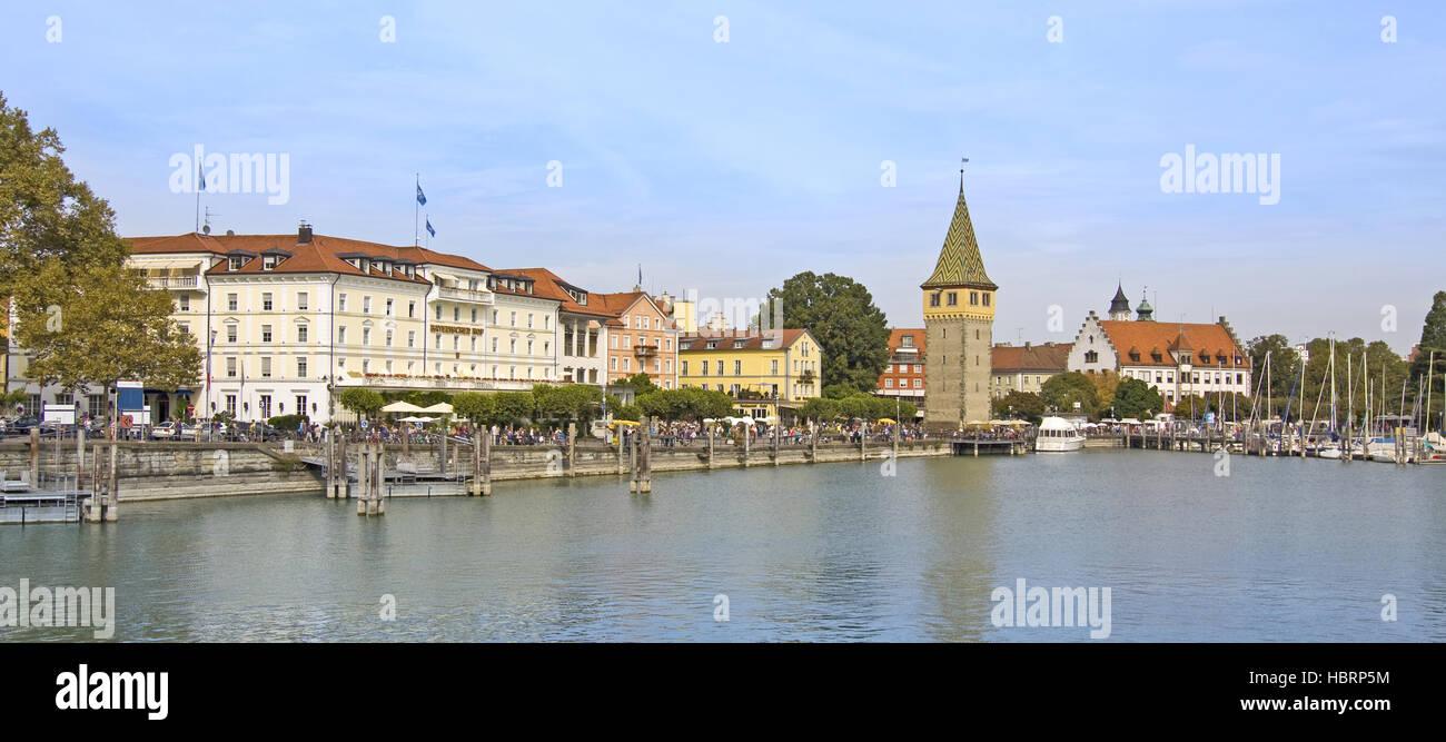 Lindauer port with Mangturm Stock Photo