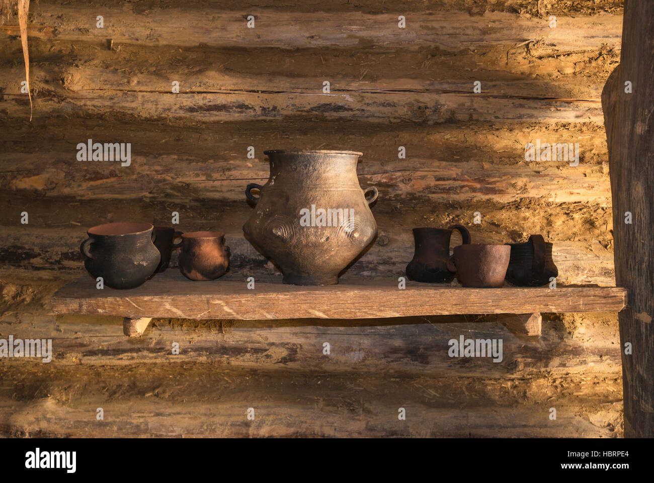 Pottery exhibited cottage, Bronze Age, 17th-14th century BC, Carpathian Troy Archaeological Open-Air Museum in Trzcinica, - Stock Image