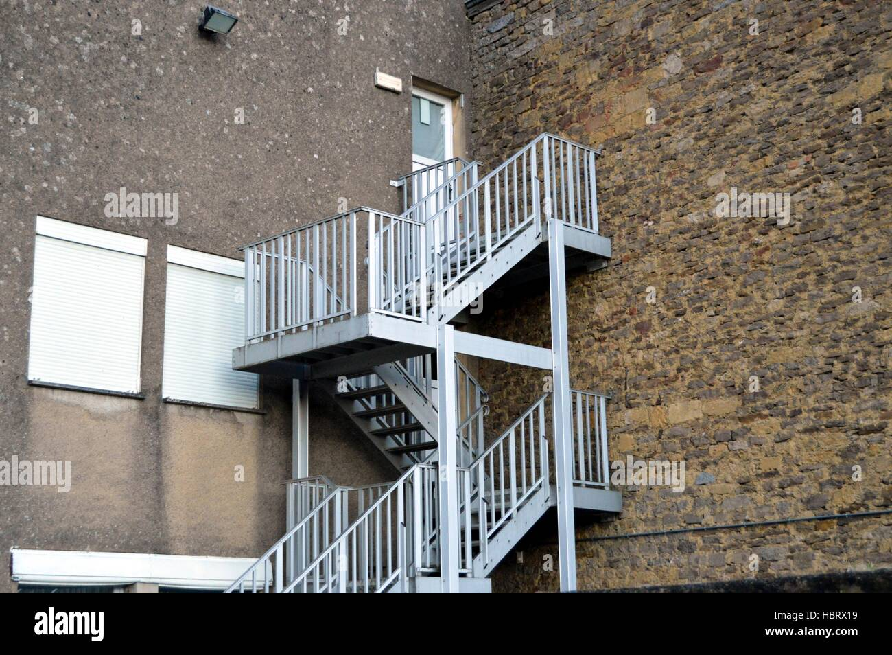 Metal Outside Staircase With Two Landing   Stock Image