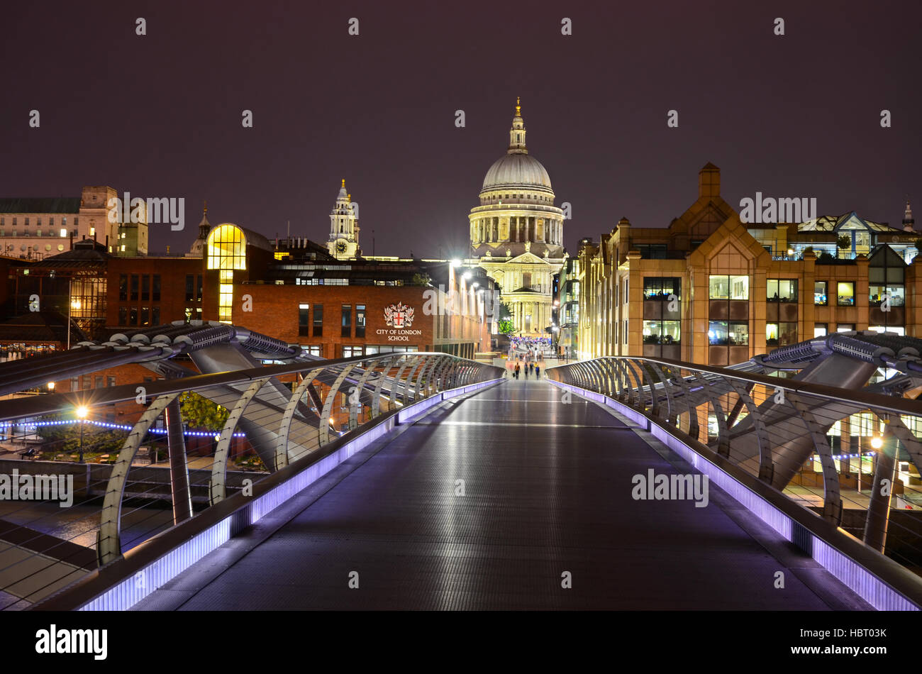 Millennium Bridge, Saint Paul's Cathedral in central London, uk - Stock Image