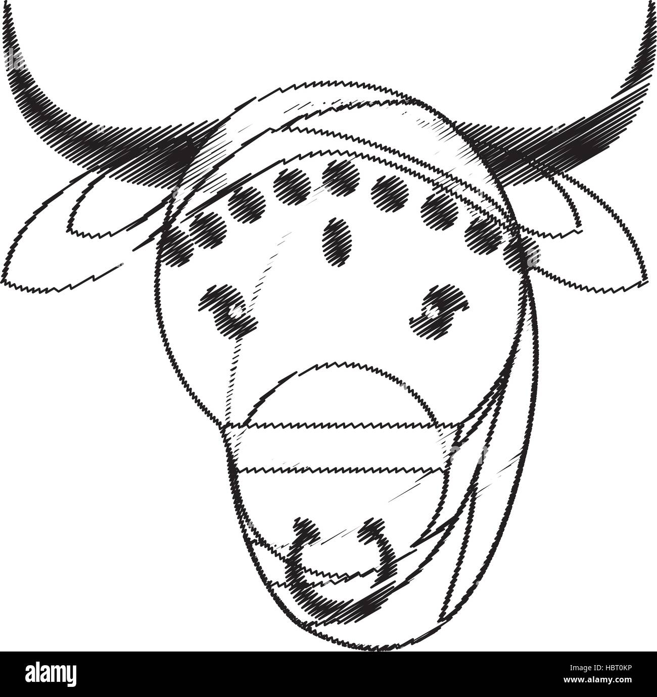 head indian sacred cow fertility and maternity symbol - Stock Image
