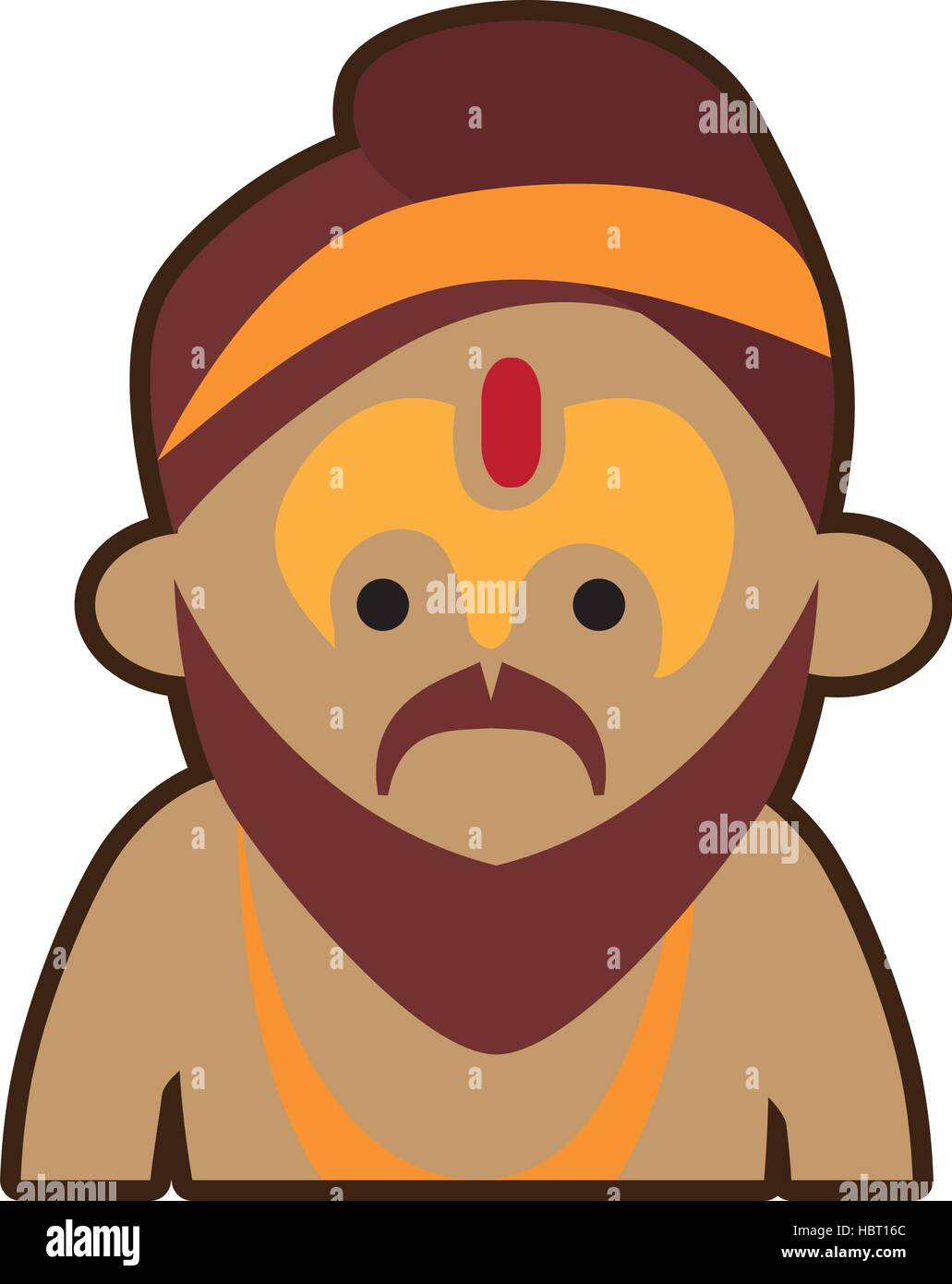 portrait cartoon man sadhu culture india - Stock Vector