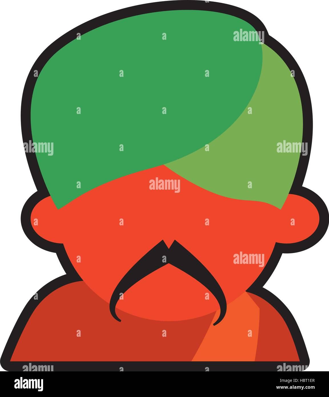 avatar face indian man mustache green turban icon - Stock Vector