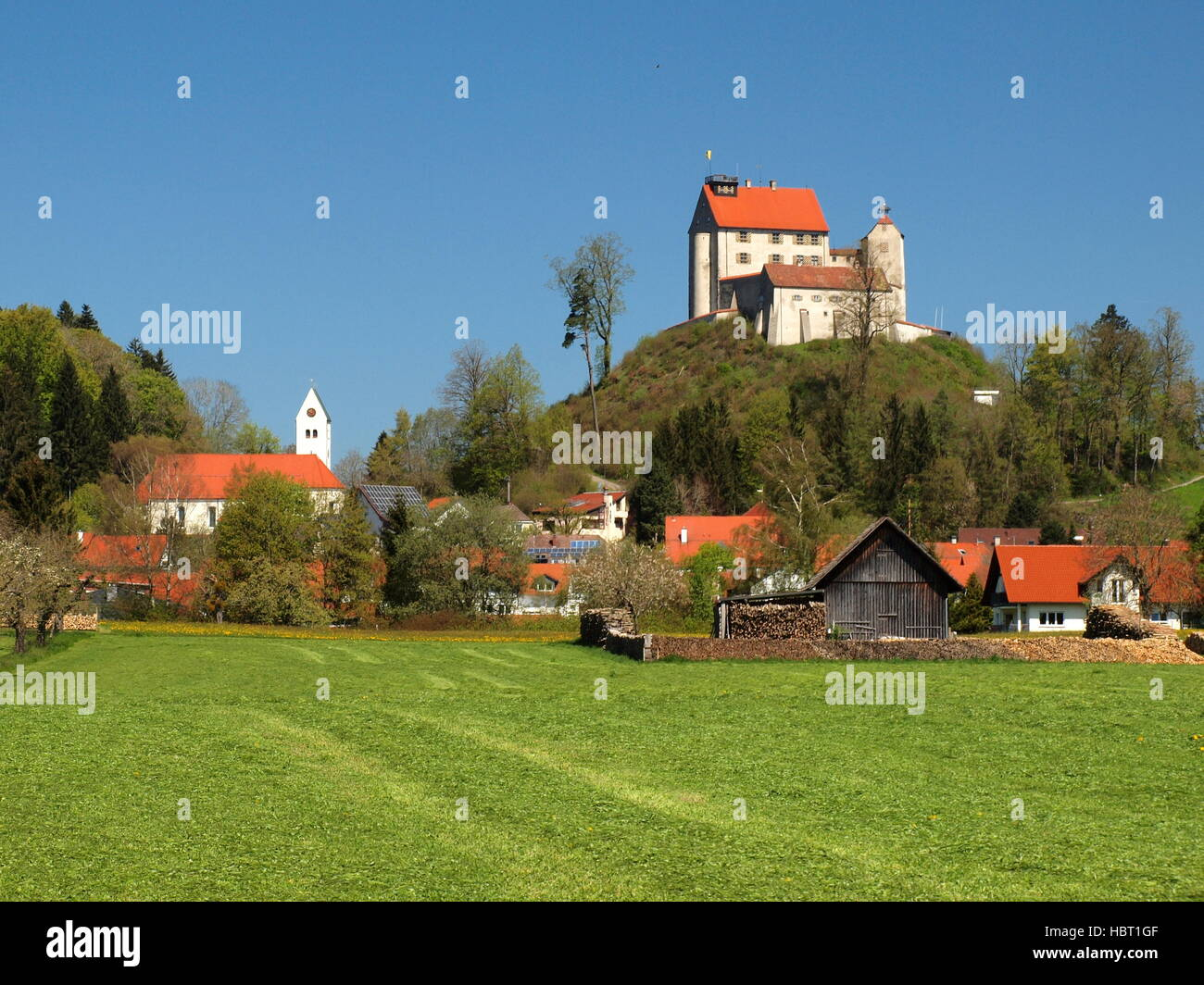 Waldburg - Village and castle - Stock Image