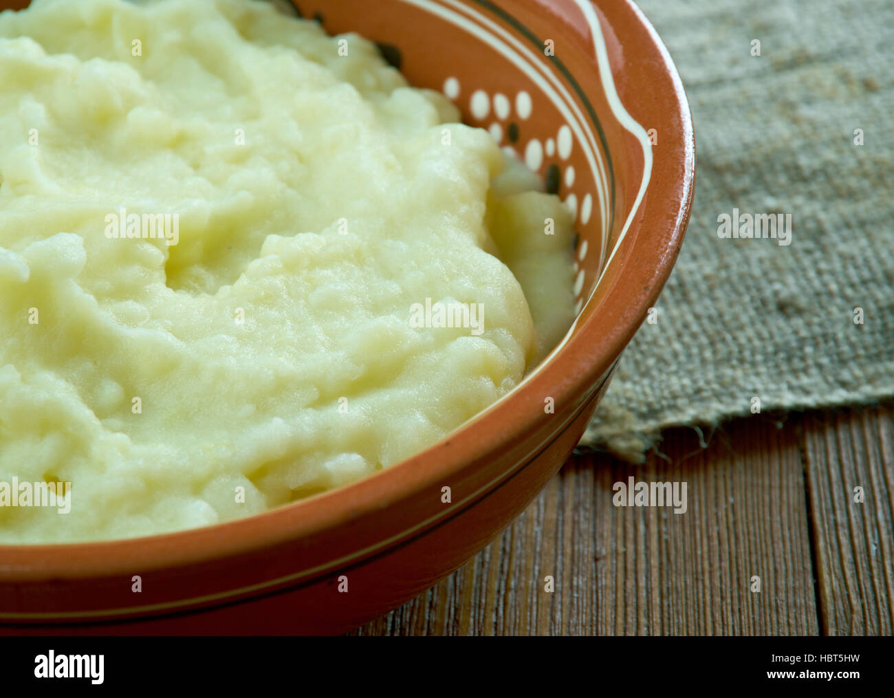 Tolcha - Belarusian mashed potatoes with milk, bacon - Stock Image