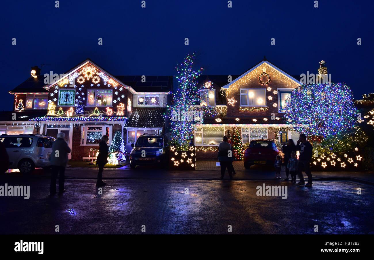 Christmas Lights On Houses.Christmas Lights On Houses In Trinity Close Stock Photos