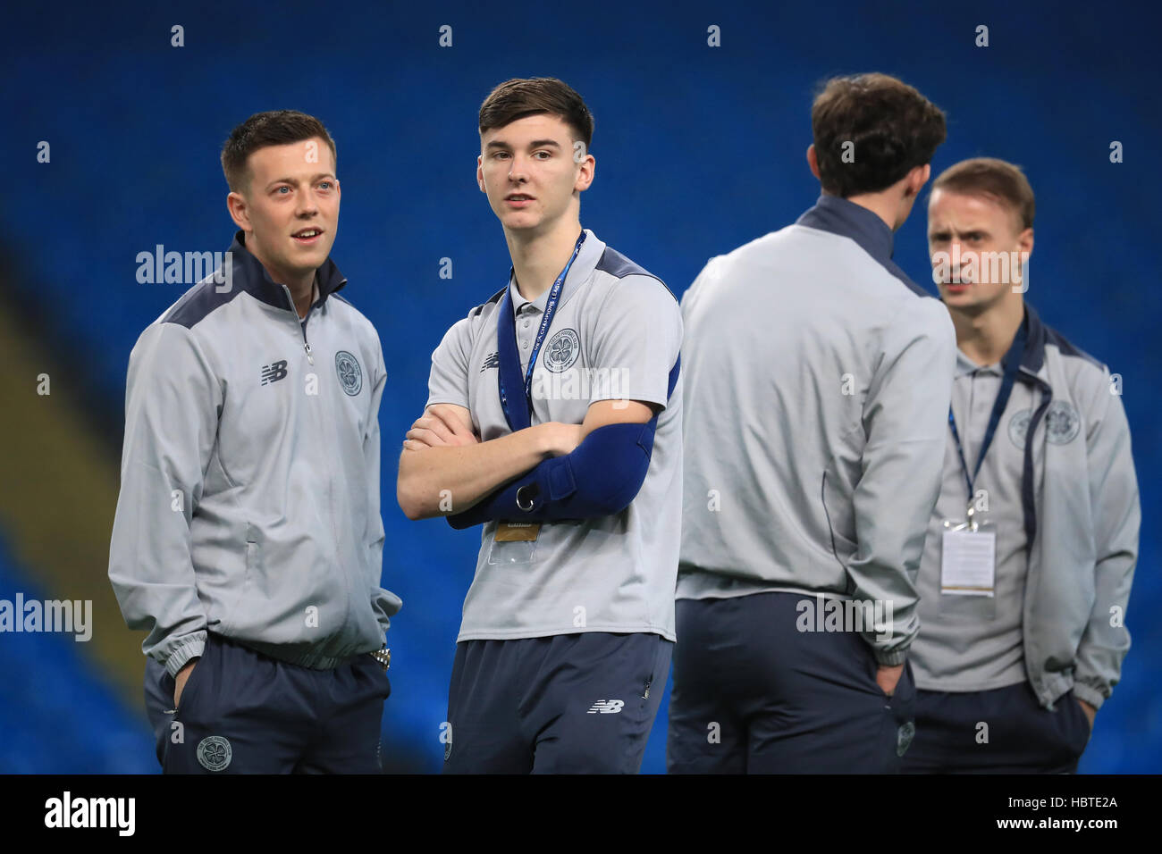 Celtic's Kieran Tierney and Callum McGregor (left) before the UEFA Champions League, Group C match at the Etihad - Stock Image