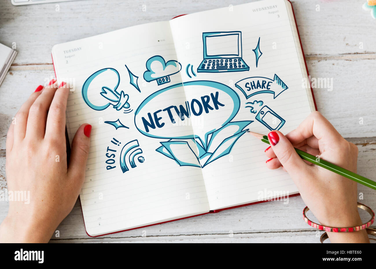 Network Connection Ideas Outside Box Sketch Concept Stock Photo ...