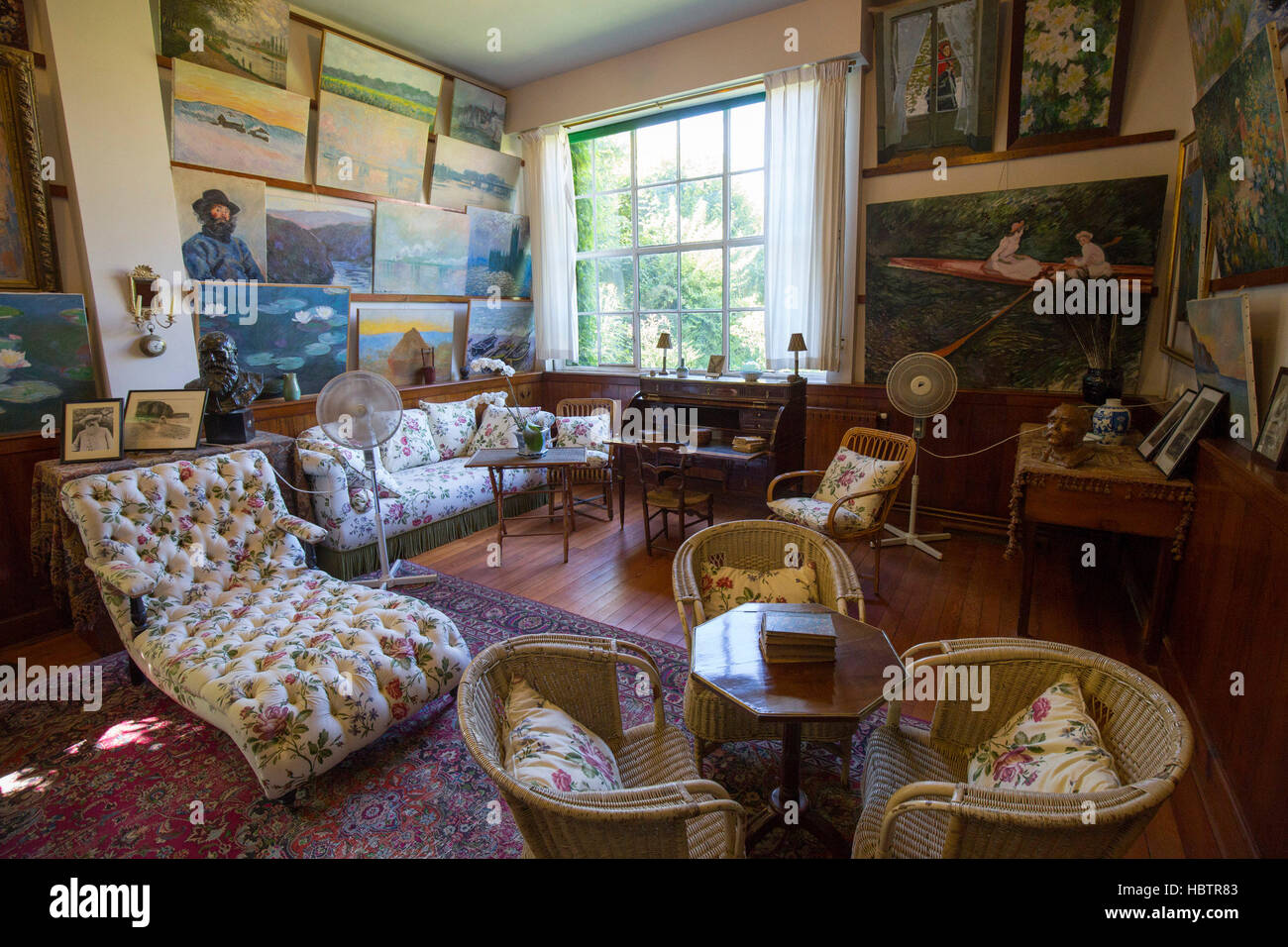 Salon atelier, House of Claude Monet, Giverny, Normandy Stock Photo on