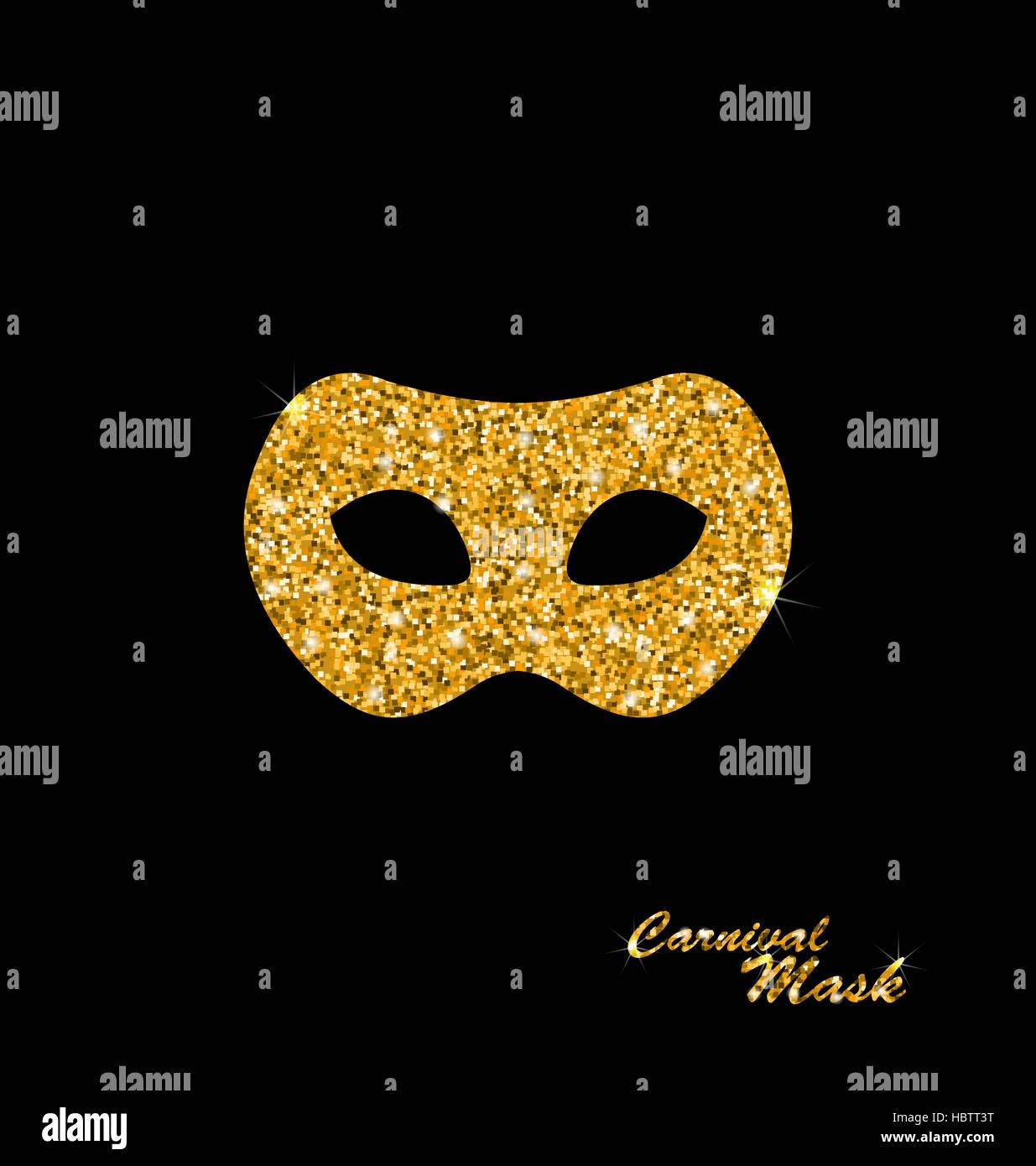 Golden Glittering Carnival or Theater Mask Stock Photo