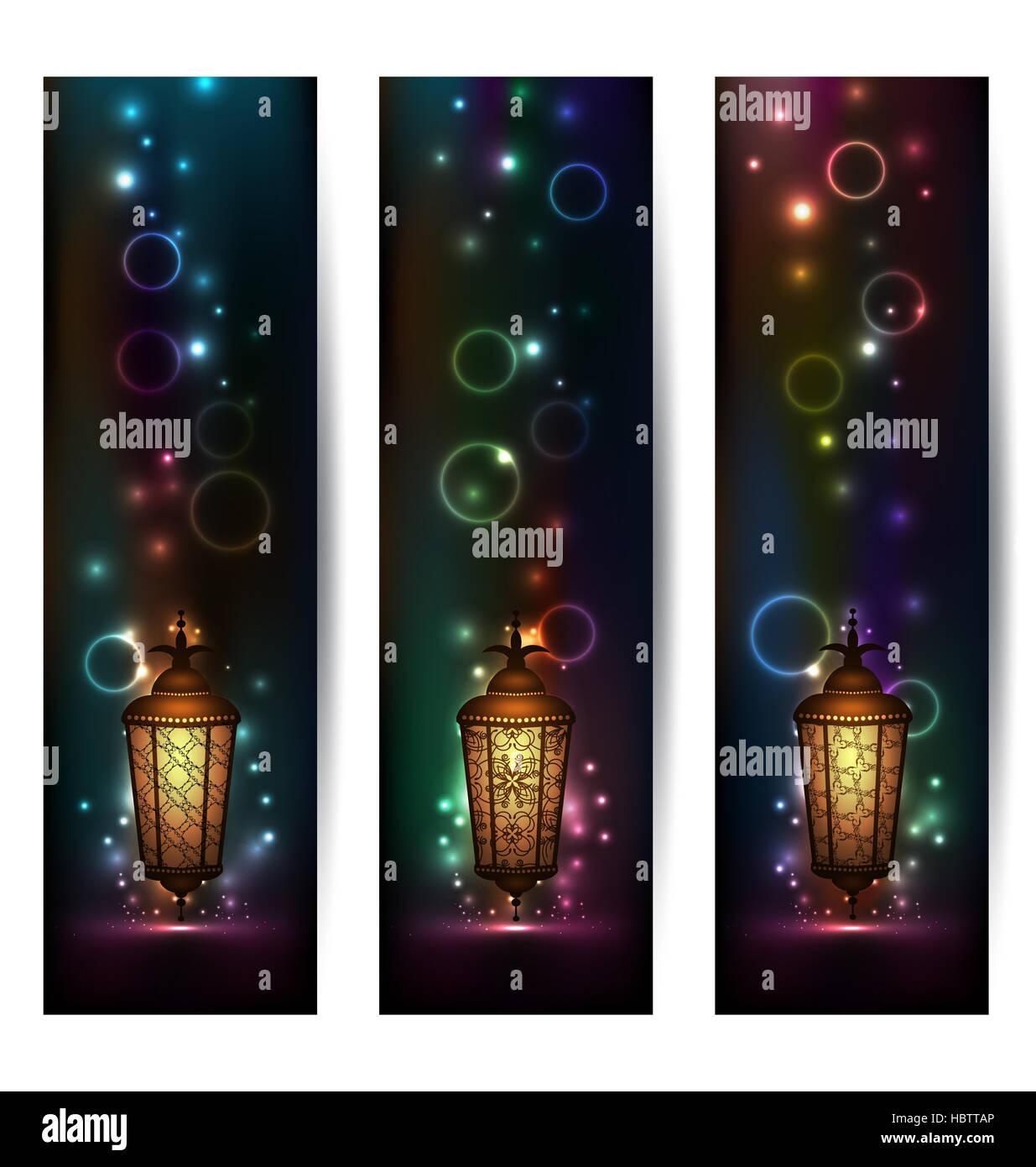 Set light banners with arabic lantern - Stock Image