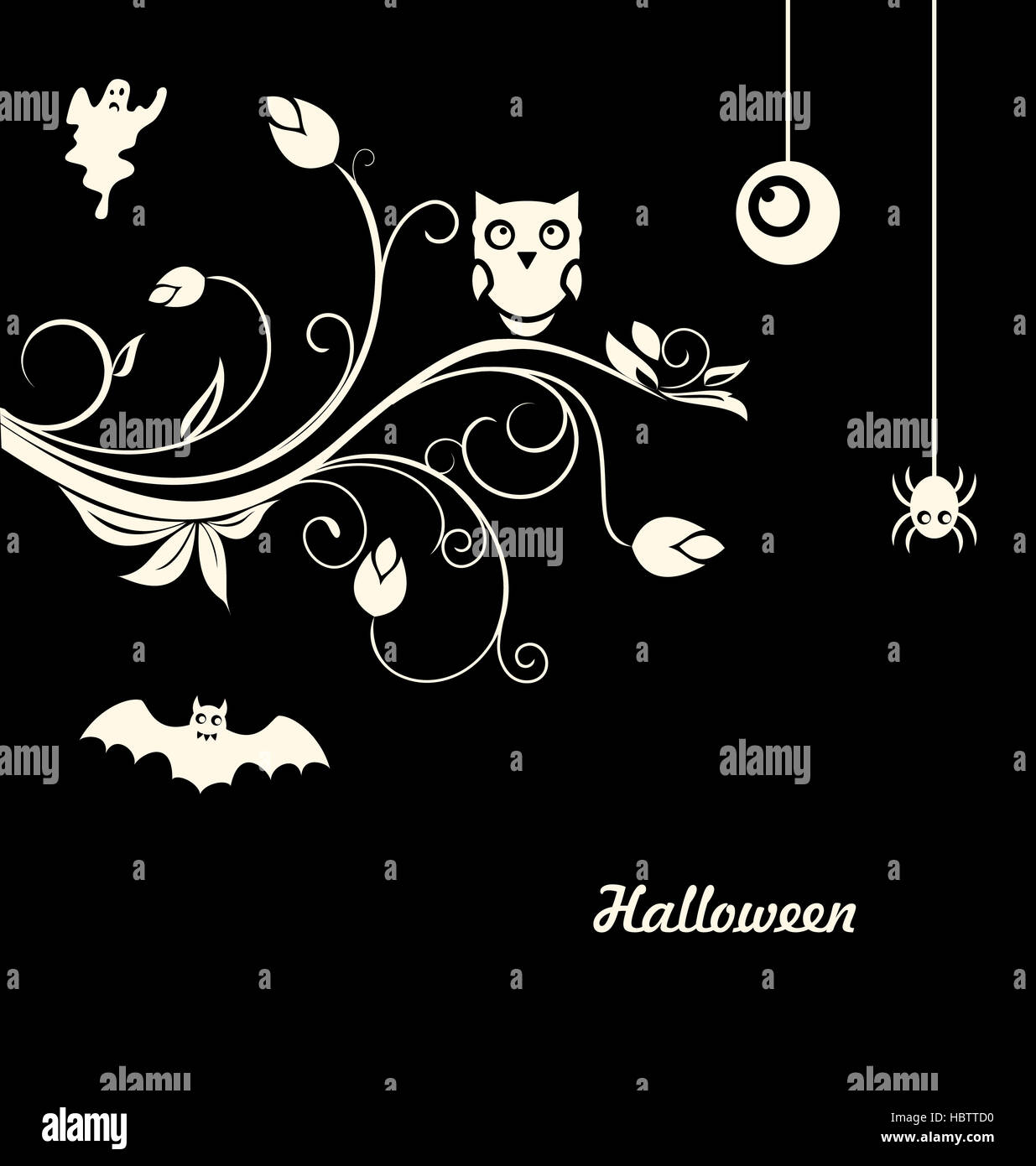 Halloween Flourish Dark Background - Stock Image
