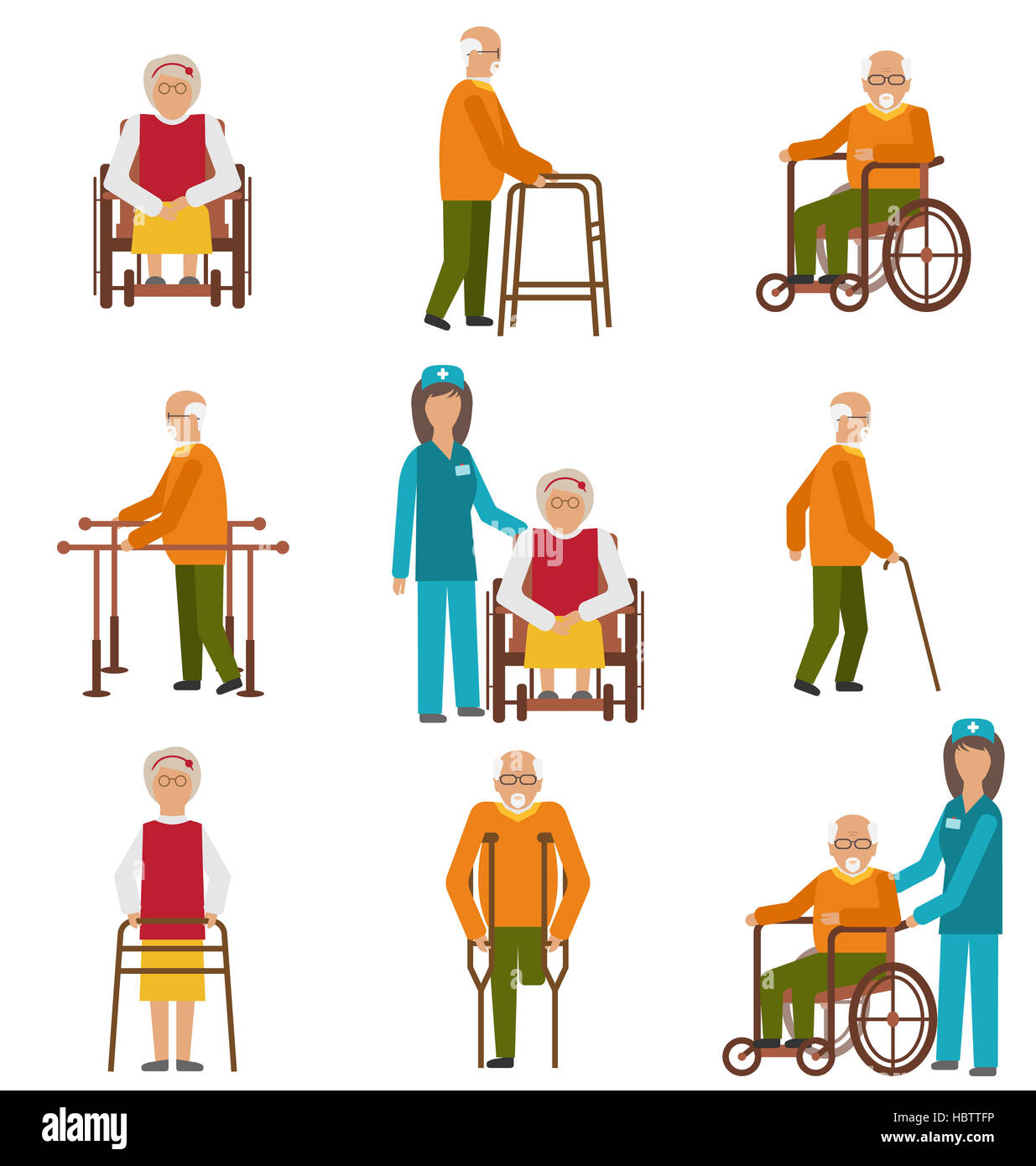 Various Degrees of Injuries and Disabilities - Stock Image