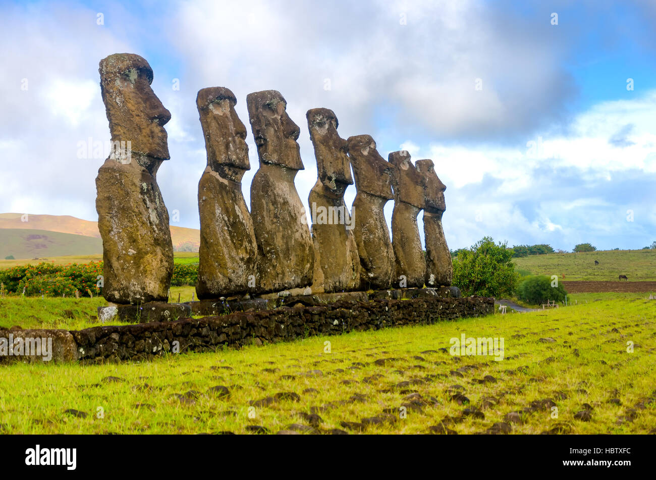 Seven Moai statues watching over Easter Island, Chile - Stock Image