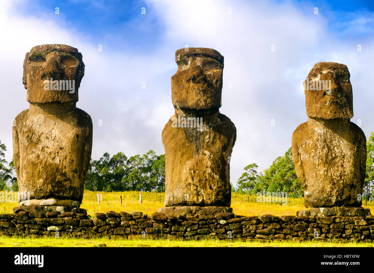 Three Moai statues on Easter Island, Chile - Stock Image