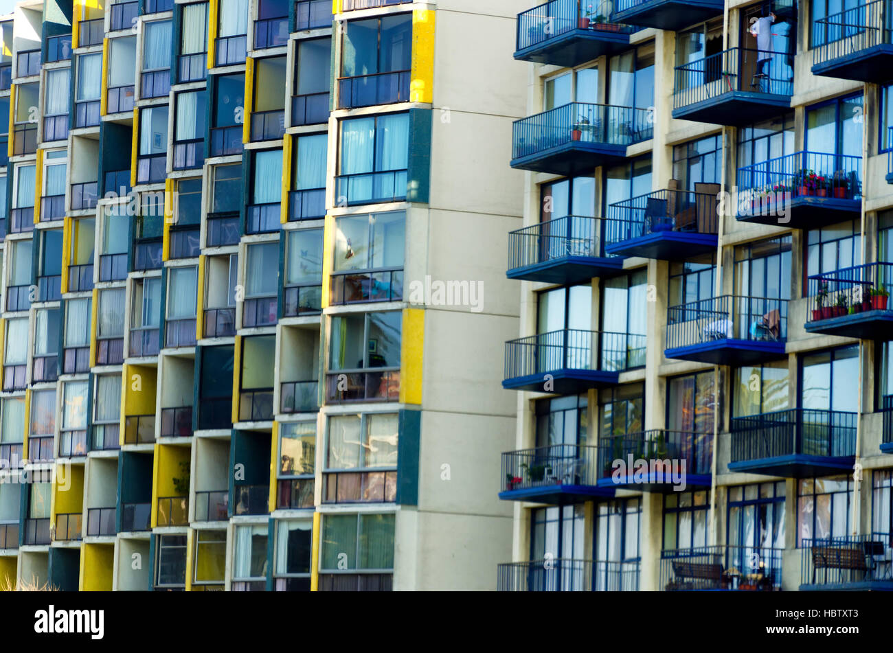 Balconies on apartment buildings in Vina del Mar, Chile - Stock Image