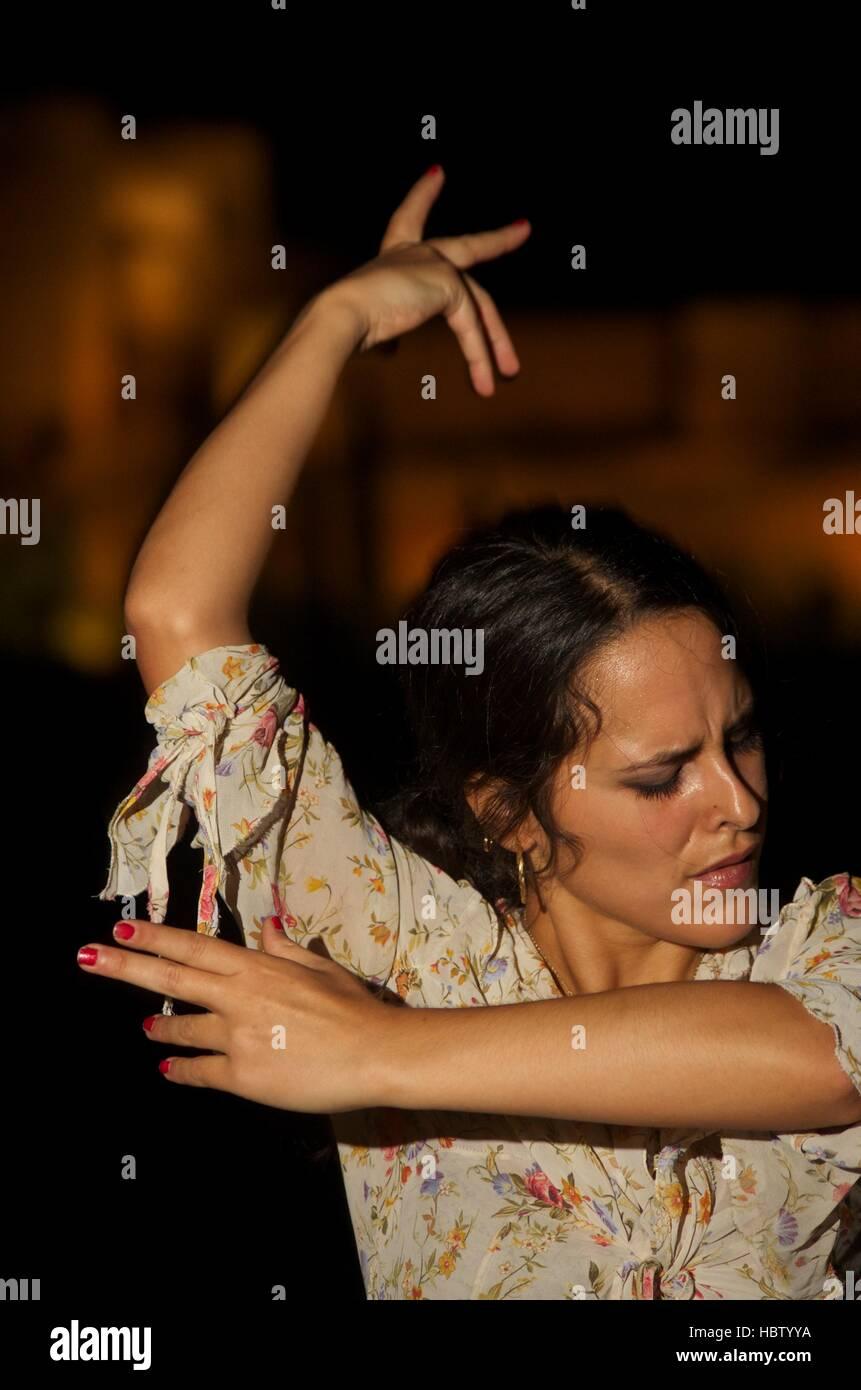 Flamenco dancer Clara Fuentes performing in a Granada street, Spain Stock Photo