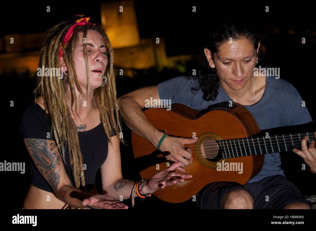 Flamenco musicians perform at Mirador San Nicolas, Granada Spain - Stock Image