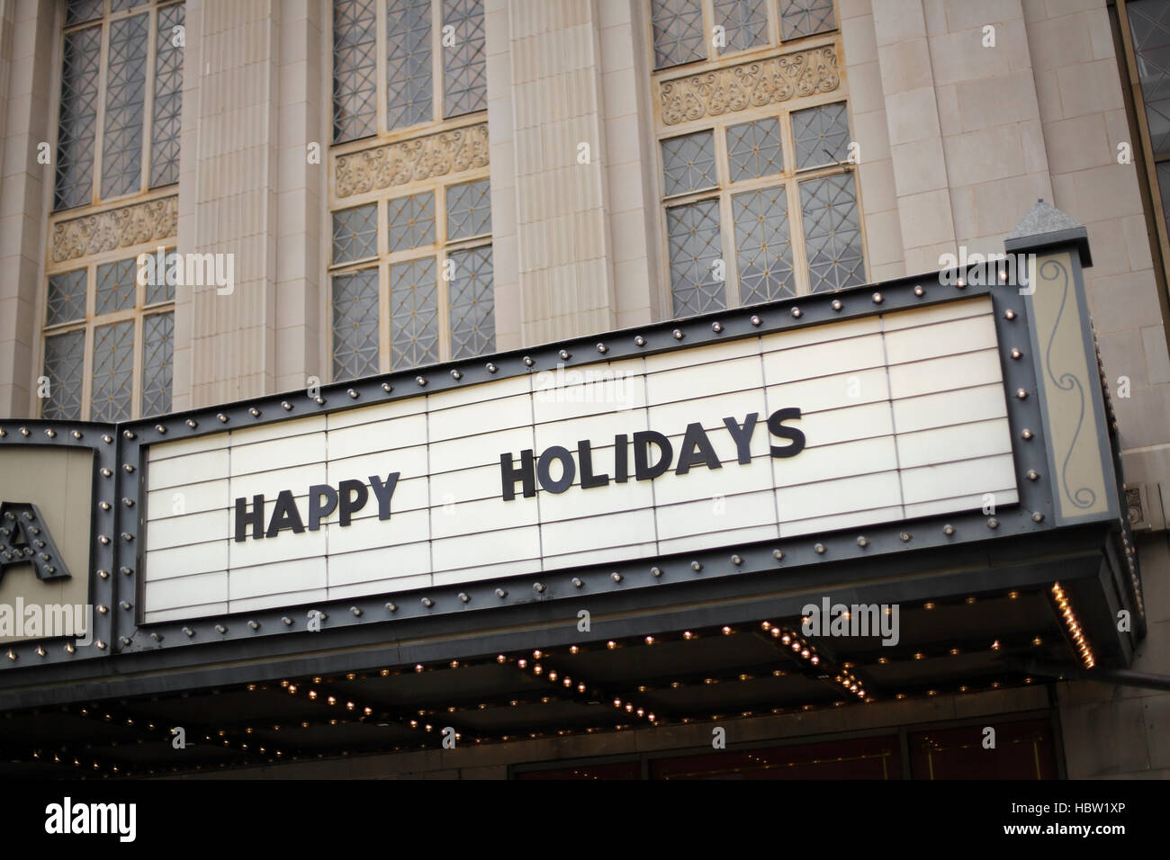 A politically correct Christmas greeting on a theater marquee, North Carolina, USA - Stock Image