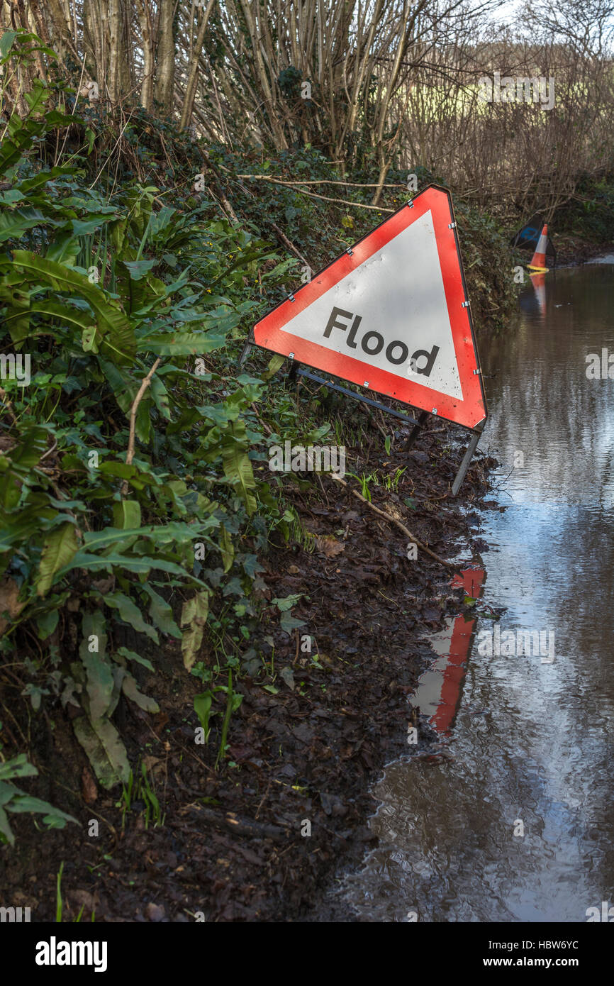 Flooded country lane near the mid-Cornwall town of Lostwithiel. Metaphor for Flood Alert, flood prone areas. - Stock Image