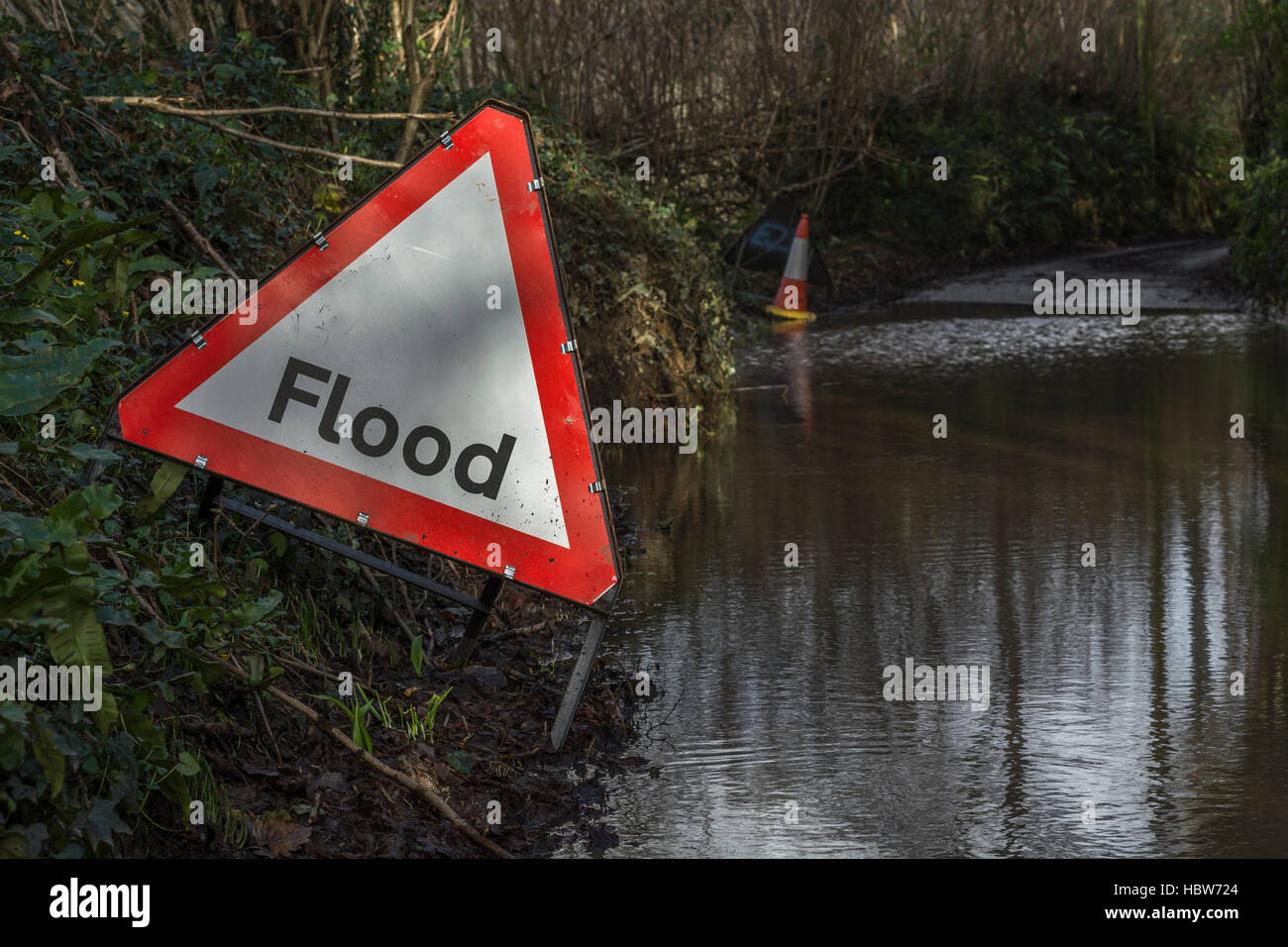 Flooded country lane near the mid-Cornwall town of Lostwithiel. Metaphor for Flood Alert, flood prone areas. Stock Photo
