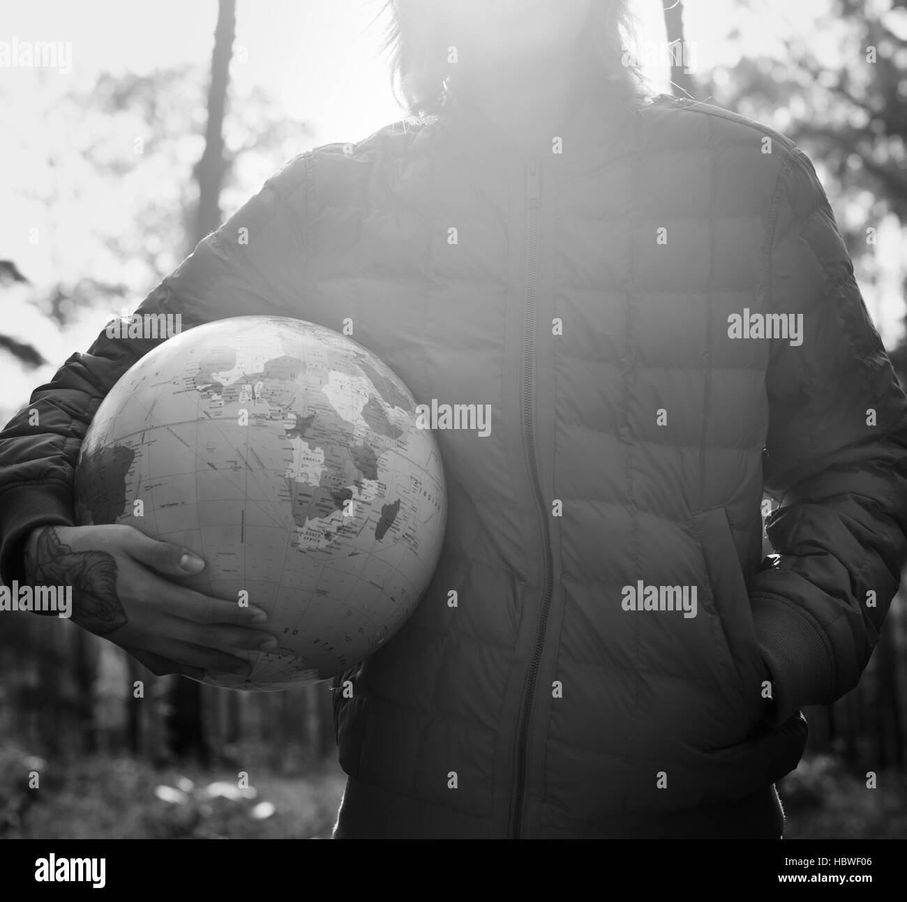 Globe Global Sphere World Cartography Earth Concept - Stock Image