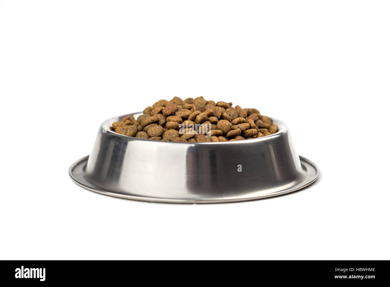 doggy bowl with meat isolated on white - Stock Image