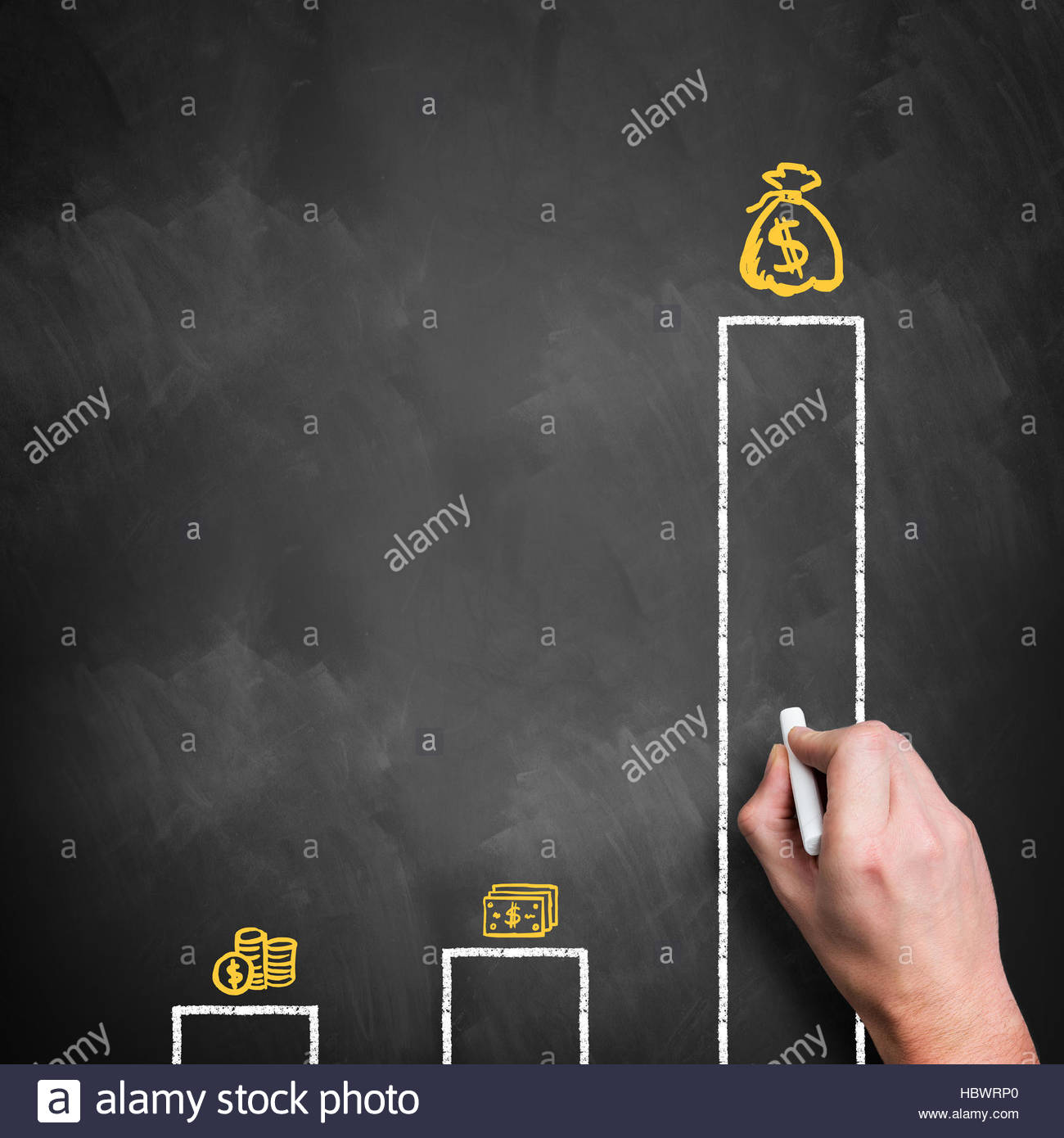 hand draws chart of income inequality - Stock Image