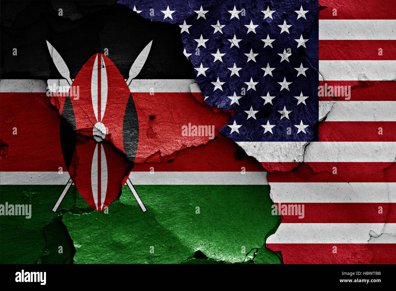 flags of Kenya and USA painted on cracked wall Stock Photo