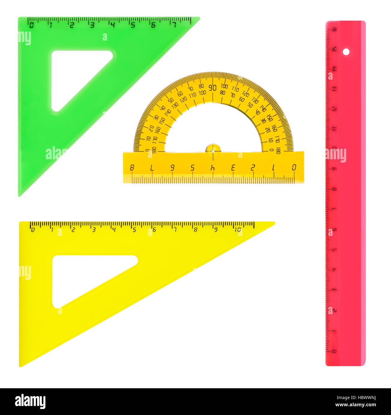 Multicolored rulers - Stock Image