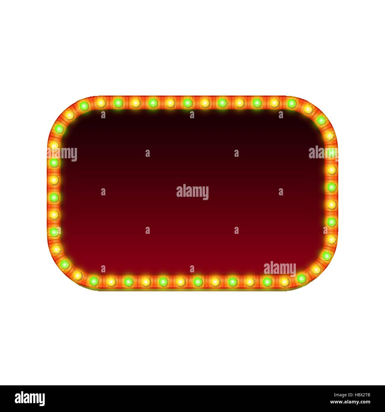 Blank 3d rectangular retro light banner with shining lights. Red sign with green and yellow bulbs and blank space - Stock Image