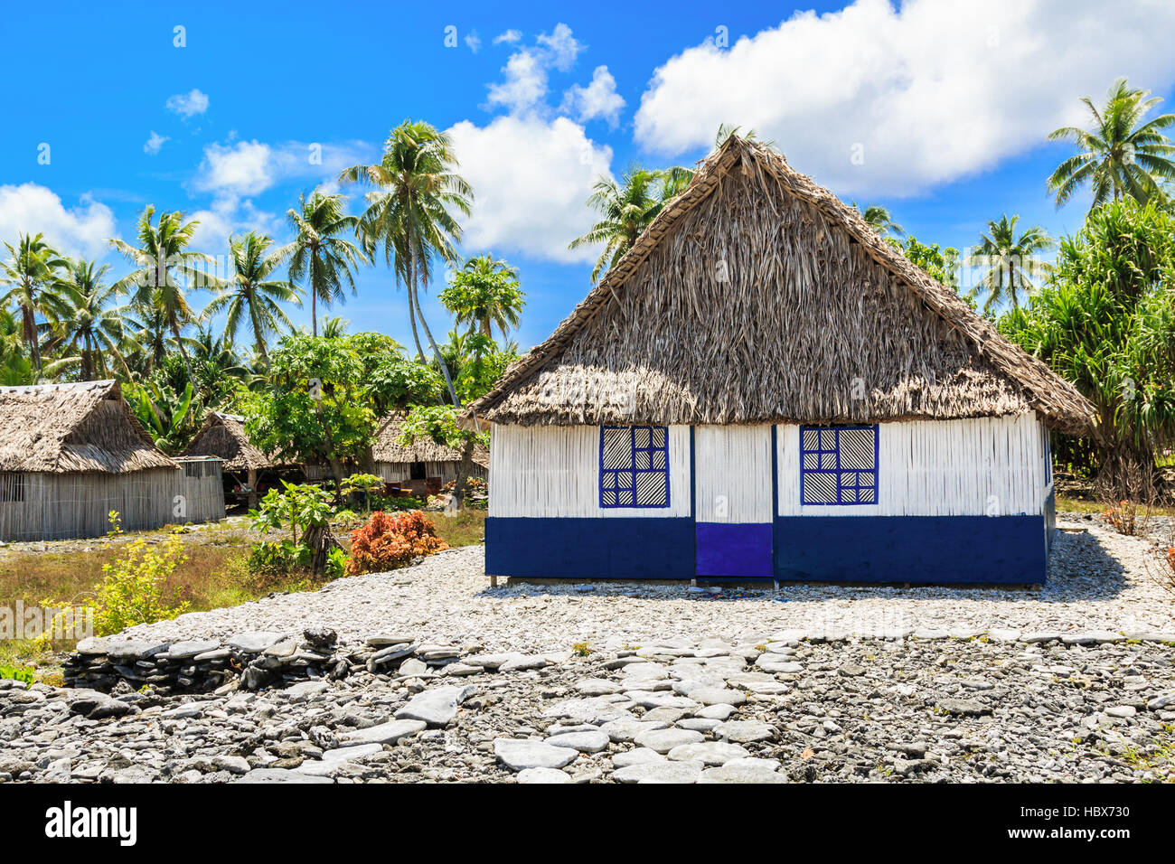 Tabuaeran, Fanning Island traditional house. Republic of Kiribati Stock Photo