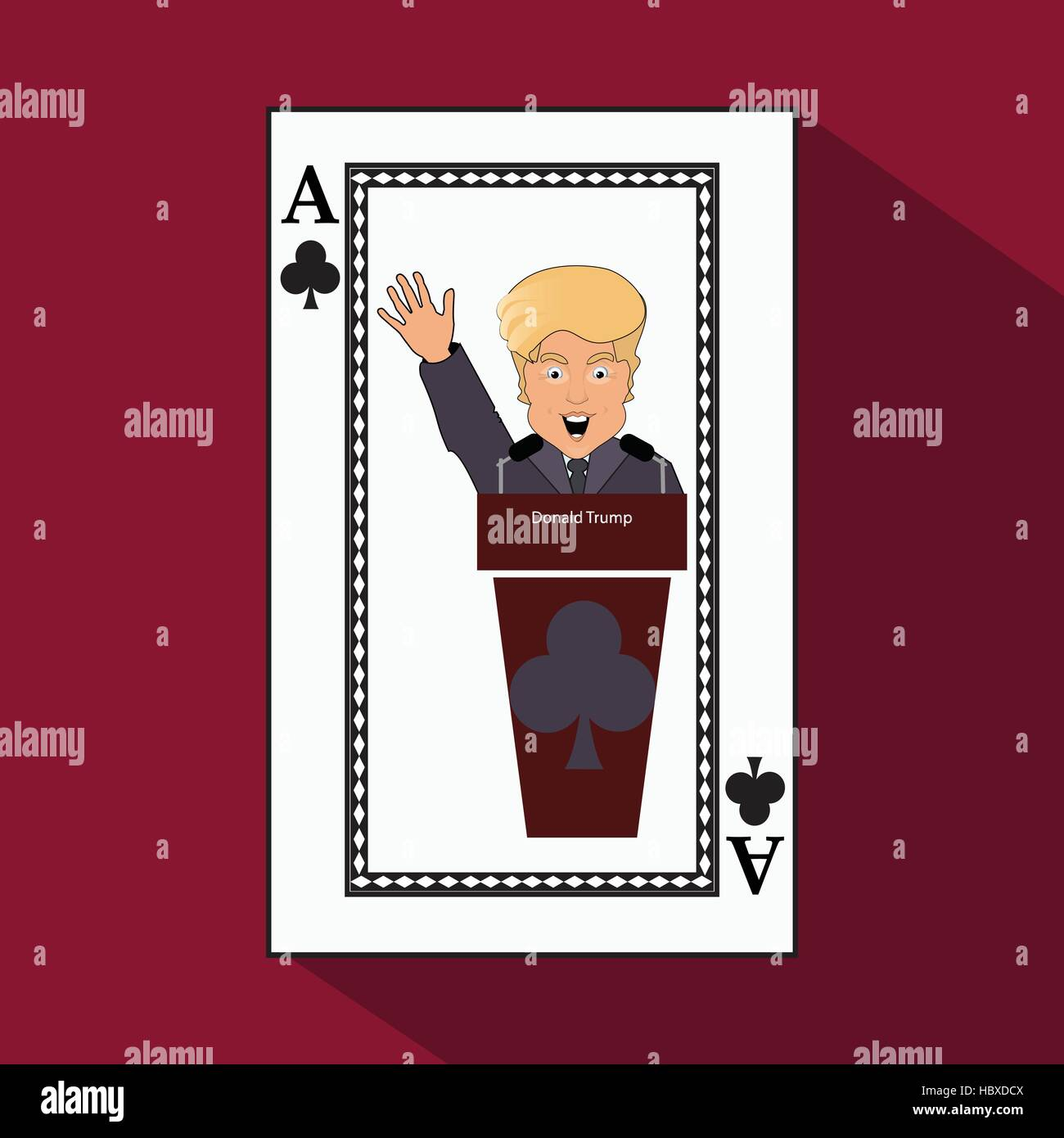 To give  Donald Trump an interview a tribune,  speak in the microphone, propaganda,  hand up. Card club ace. vector - Stock Vector