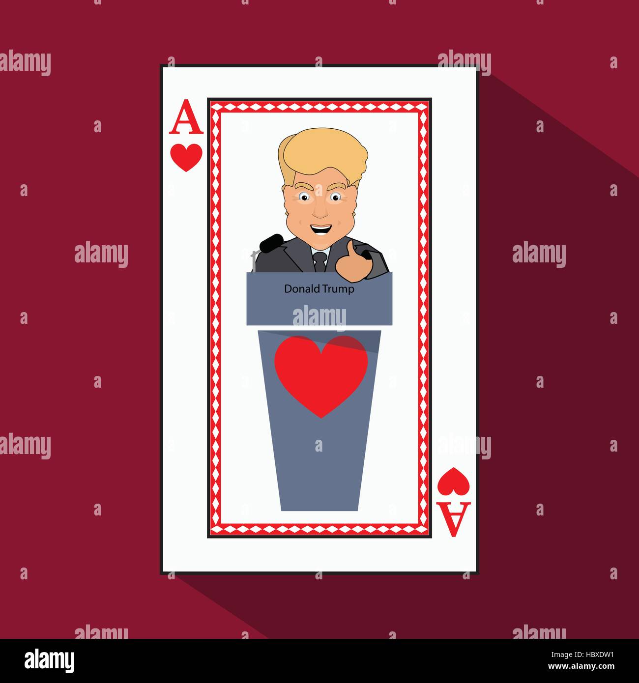 To give to Donald Trump an interview a tribune, to speak in the microphone, propaganda, a hand up. Card ace heart. - Stock Vector