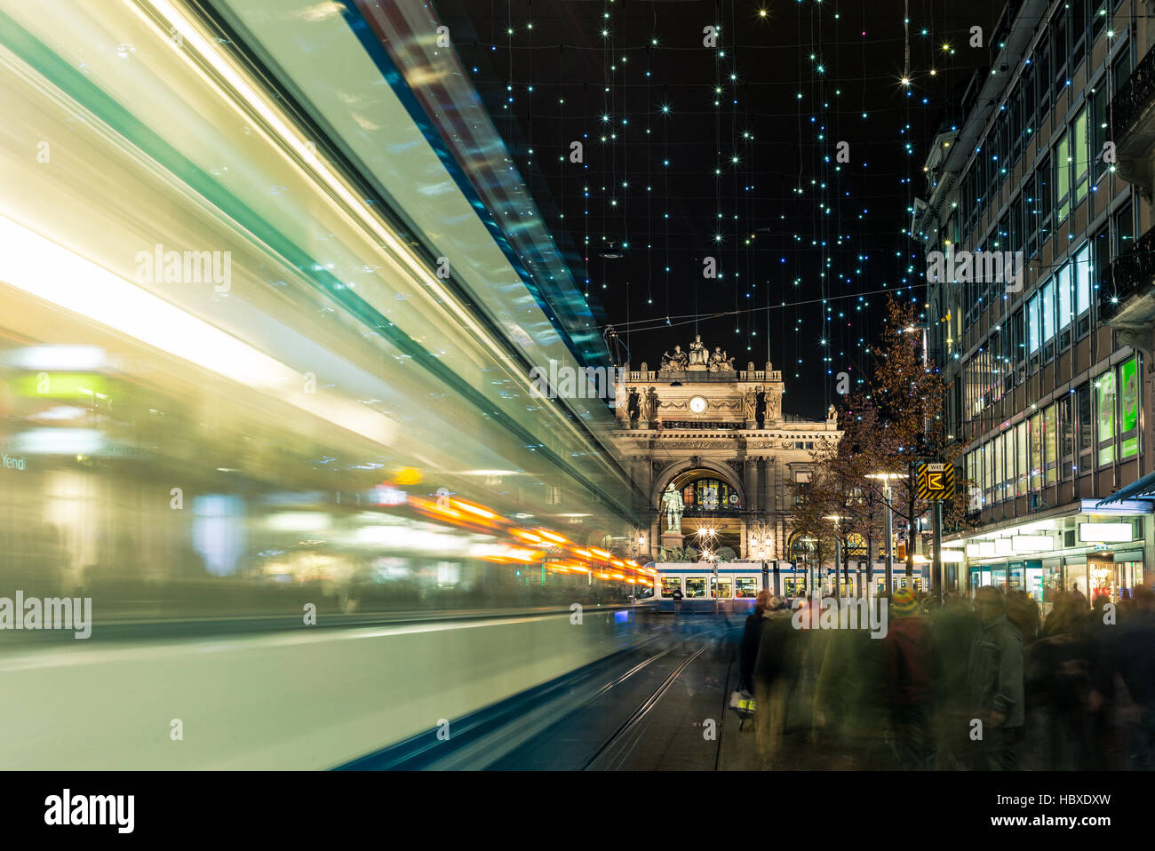 Christmas shopping in the decorated Zurich Bahnhofstrasse - 7 - Stock Image