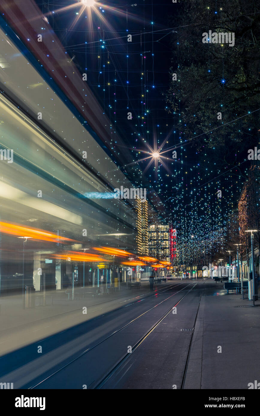 Christmas lights in Zurich Bahnhofstrasse - 1 - Stock Image