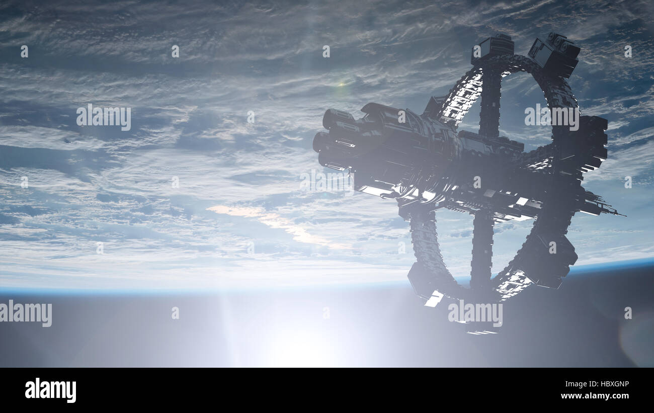 Space Station Orbiting Earth - Stock Image