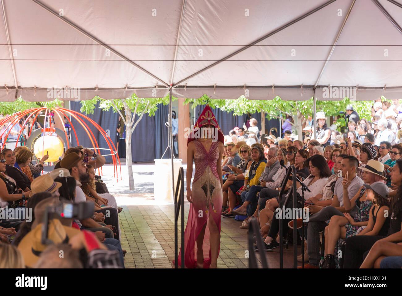 Haute Couture Fashion Show Santa Fe Indian Market 2016 Santa Fe, New Mexico, USA - Stock Image