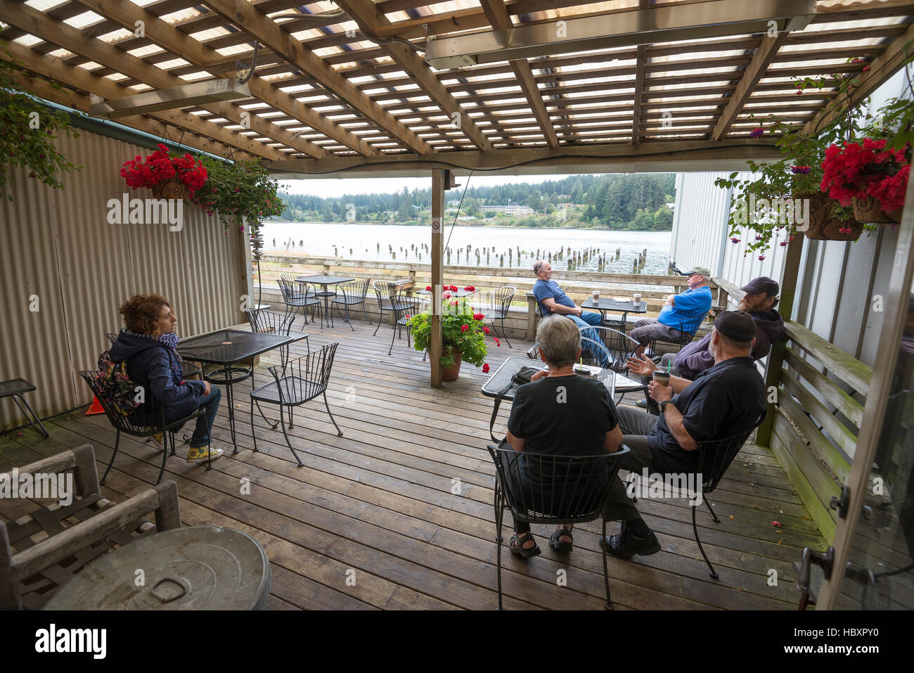 Siuslaw River Coffee Roasters in Florence, Oregon. - Stock Image