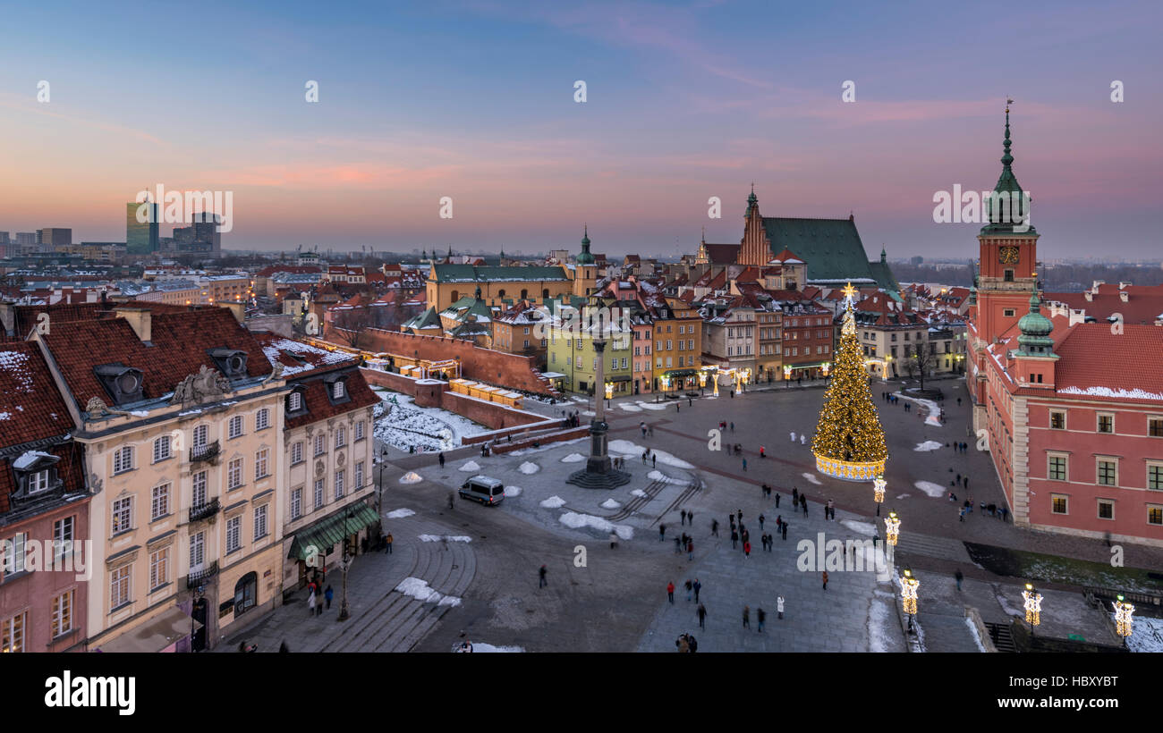 Old Town in Warsaw during Christmas time, Poland - Stock Image