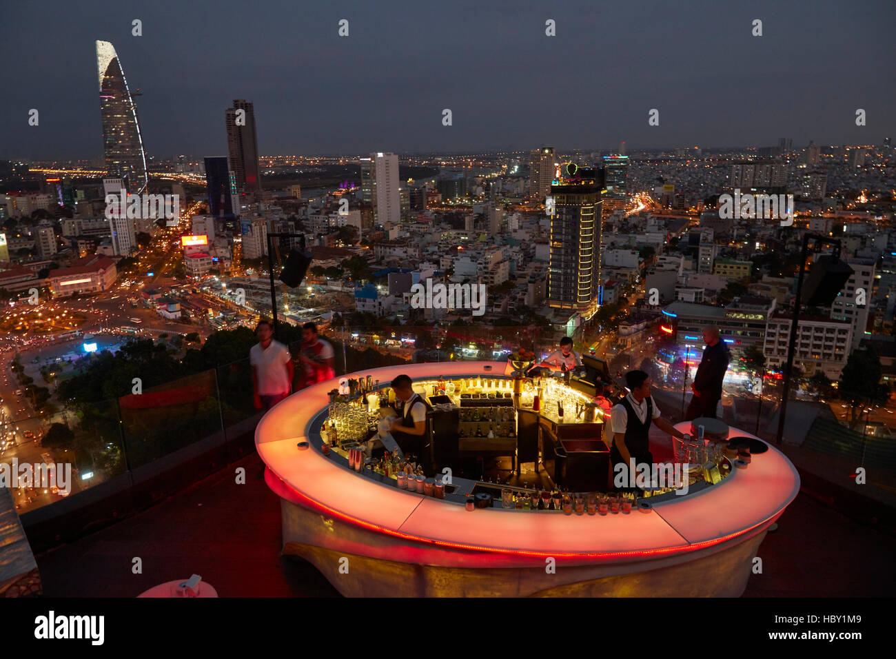 Chill Skybar at dusk, Ho Chi Minh (Saigon), Vietnam - Stock Image