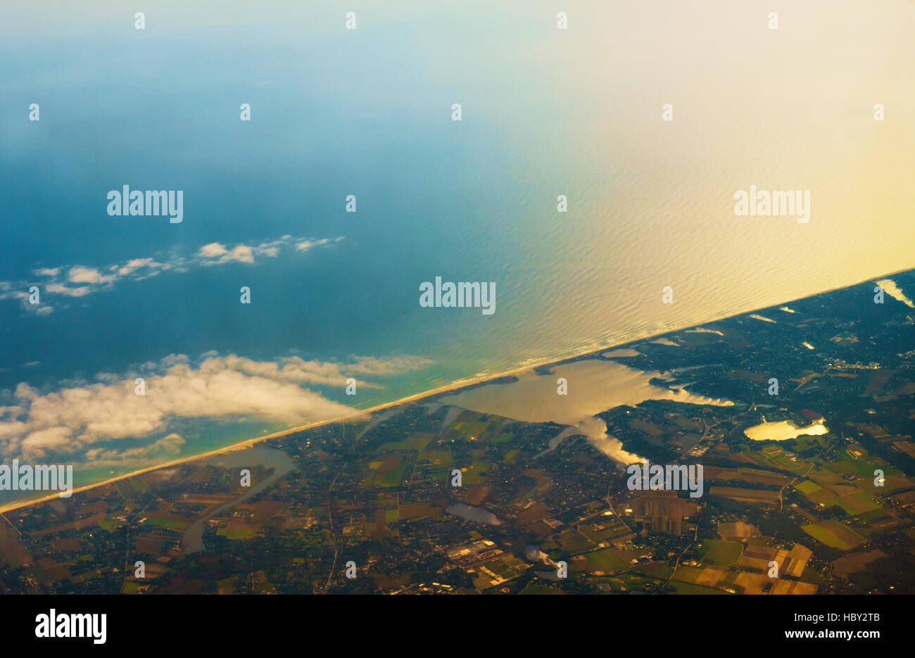 Aerial photo of the landscape coast around the bay Stock Photo