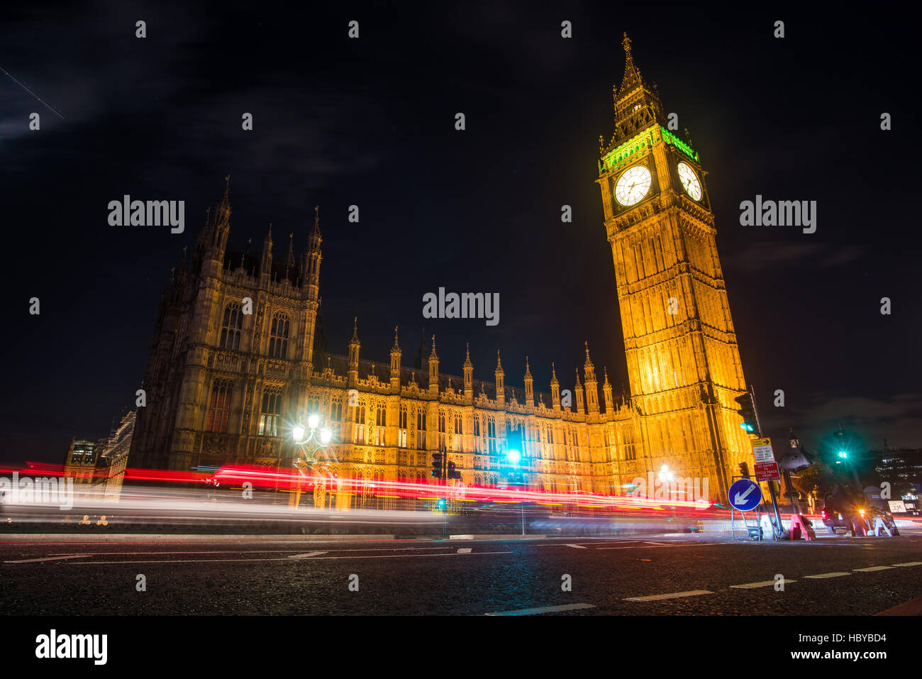 Night image of London's famous Big Ben - Stock Image